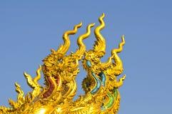 Naga sculpture in thai temple Royalty Free Stock Photos