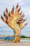 Naga sculpture was decorated with glazed tile Royalty Free Stock Photo