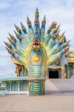 Naga sculpture was decorated with glazed tile Stock Photo