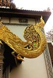 naga sculpture in wat phra sing Royalty Free Stock Image