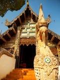 Naga som är starway på Wat Chedi Luang, Chiang Mai Arkivfoton