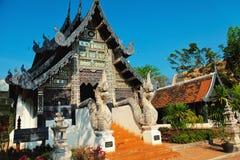 Naga som är starway på Wat Chedi Luang, Chiang Mai Arkivfoto
