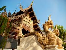 Naga som är starway på Wat Chedi Luang, Chiang Mai Fotografering för Bildbyråer