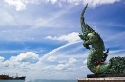 Naga at Songkhla lake. With blue sky Royalty Free Stock Photos