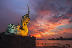 Naga at Songkhla Thailand. In Singapore, the Merlion is a symbol. Songkhla We have Naga and drive industry giant spray of water. Improbably beautiful Of the Royalty Free Stock Photos