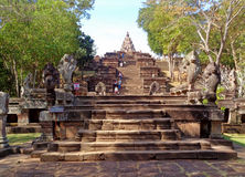 The Naga Staircase lead up to Prasat Hin Phanom Rung Ancient Khmer Temple, Thailand Stock Photography