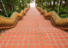 The Naga stairs way down from Wat Doi Suthep. The Naga stairs way down fron Wat Prathat Doi Suthep in Chianf Mai, Thailand Stock Photos