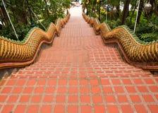 The Naga stairs way down from Wat Doi Suthep Stock Photos