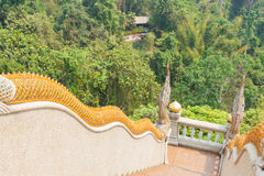 Naga statue decorating on bannister of stairway Royalty Free Stock Photography