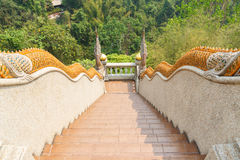 Naga statue decorating on bannister of stairway Royalty Free Stock Photo
