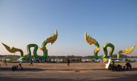 Naga Statue in Nong Khai on Mekong River, Thailand stock photos