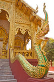 Naga Statue on the railing in Thai temple Royalty Free Stock Images