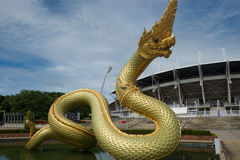 Naga statue on the water Royalty Free Stock Photography