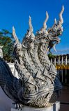 Naga stone dragon snake guard in thai buddhist Temple. Phaya Naga guarding the Temple Wat in Thailand. Nagas asian mythological guard statue in Thai Buddhist royalty free stock photography