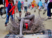 Naga on throns in kumbh 2013 in allahabad Stock Image