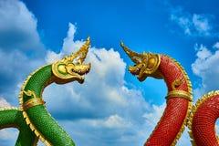 Naga twee in tempel Stock Foto's