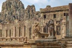 Naga Vasuki and Lion guards Prasat Bayon, Cambodia Royalty Free Stock Image