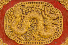Naga Wall sculpture on Ubosot in Wat Saen Fang Royalty Free Stock Image
