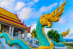 Naga in Wat Ahong Silavas-tempel Stock Afbeelding