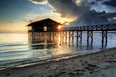 Nagalang beach 04. House, Boat and cloud with beautiful sunrise Stock Photos