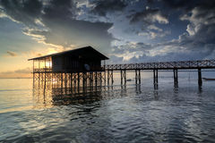 Nagalang beach 02. House, Boat and cloud with beautiful sunrise Stock Image