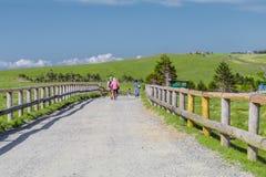 Nagano, Japan - Juni 17: De mensen lopen in Utsukushigahara Royalty-vrije Stock Foto's