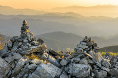Nagano Japan Sunrise Rock Cairns Royalty Free Stock Images