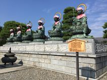 The big six Bodhisattvas statues of the Zenko-ji temple in Nagano, Japan royalty free stock photos
