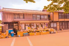 Nagano Prefecture, JAPAN -September 3, 2017: Traditional shops a. Nd stores of Unno-juku is  the old  town , Nagano Prefecture, JAPAN Stock Photos
