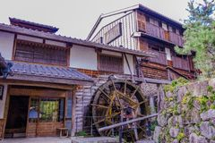 The old  town or old buildings of Magome   in Nagano Prefecture,. Nagano Prefecture, JAPAN -September 3, 2017: Traditional shops and stores of Unno-juku is  the Stock Image