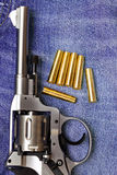 Nagant revolver with cartridges Royalty Free Stock Images