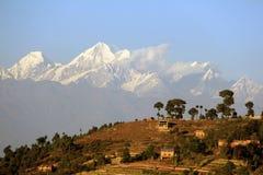 Nagarkot i himalaje zdjęcie royalty free