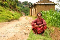 NAGARKOT, NEPAL - JUNE 2013: Nepali vilager at her vilage Stock Images