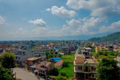 NAGARKOT, NEPAL OCTOBER 11, 2017:Aerial view ofthe beautiful landscape of dowtown in nagarkot Nepal Stock Image