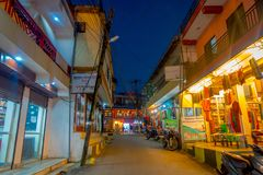 NAGARKOT, NEPAL OCTOBER 11, 2017: Beautiful night view of dowtown with unidentified people walking arounds in nagarkot Stock Image