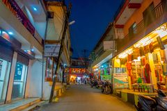 NAGARKOT, NEPAL OCTOBER 11, 2017: Beautiful night view of dowtown with unidentified people walking arounds in nagarkot Stock Images