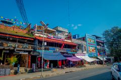 NAGARKOT, NEPAL OCTOBER 11, 2017: Beautiful view of dowtown with some restaurants around, in Nagarkot Nepal Stock Images