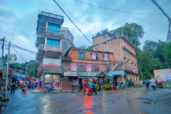 NAGARKOT, NEPAL OCTOBER 11, 2017: Beautiful view of dowtown with unidentified people walking arounds in nagarkot Nepal Stock Images