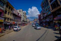 NAGARKOT, NEPAL OCTOBER 11, 2017: View of dowtown with unidentified people riding their motorbikes around the city in Royalty Free Stock Photography
