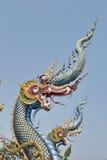 Nagas: Sztukateryjna sztuka przy Watem Rong Sua Dziesięć, Chiang Raja prowincja, Tajlandia Zdjęcie Royalty Free