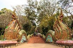 Nagas Treppen von Wat Doi Suthep Stockfoto