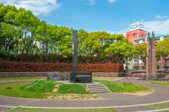 The hypocenter memorial at the site of the Nagasaki Atom Bomb dr. NAGASAKI - 13 APRIL : The hypocenter memorial at the site of the Nagasaki Atom Bomb drop stock photo