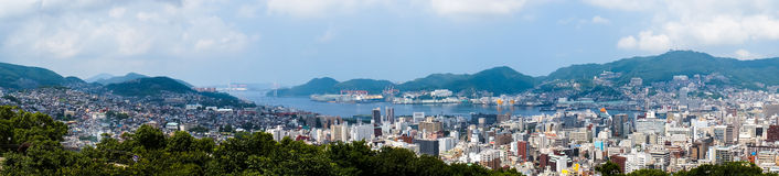 Nagasaki Bay in Nagasaki, Japan. Panoramic view of Nagasaki Bay and Nagasaki city Stock Photography