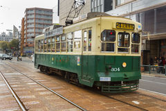 Nagasaki Electric Tramway. Nagasaki, Japan - March 26th, 2017: The Tram-train in Nagasaki operated by the Nagasaki electric tramway Stock Photo