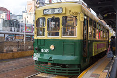 Nagasaki Electric Tramway. Nagasaki, Japan - March 26th, 2017: The Tram-train in Nagasaki operated by the Nagasaki electric tramway Royalty Free Stock Image