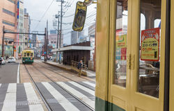 Nagasaki Electric Tramway. Nagasaki, Japan - March 26th, 2017: The Tram-train in Nagasaki operated by the Nagasaki electric tramway Stock Photos