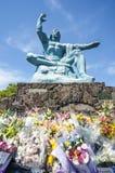 Nagasaki-Friedenspark in Nagasaki, Friedensstatue Stockbild