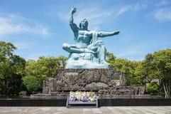 Nagasaki-Friedenspark in Nagasaki, Friedensstatue Stockfotos