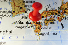 Nagasaki, Japan pinned map. Copy space available royalty free stock photos