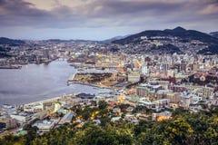 Nagasaki, Japonia linia horyzontu Obrazy Royalty Free